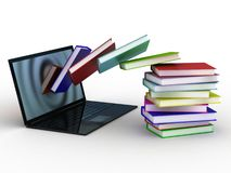 Books fly into your laptop. 3d images Royalty Free Stock Images