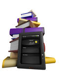 Books fly into your tablet. 3D Stock Photos