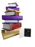 Books fly into your tablet Royalty Free Stock Photos