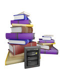 Books fly into your tablet Royalty Free Stock Image