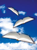 Books flying. Flying open books over a blue sky vector illustration