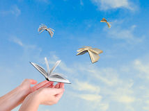 Books Flying From Hands Royalty Free Stock Photography