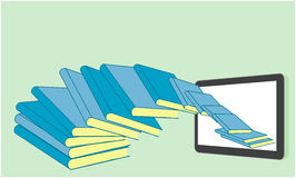 Books flying in a tablet Royalty Free Stock Photography