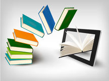 Books flying in a tablet. Vector. Illustration Royalty Free Stock Image
