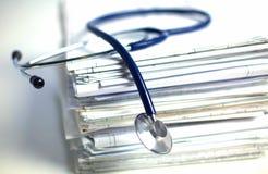 Books folder file and stethoscope isolated on Stock Image