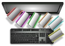 Books and folders from computer Royalty Free Stock Photos