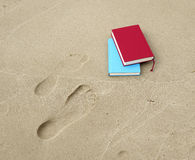 Books and footprints Royalty Free Stock Photography
