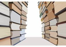Books forming a corridor way out. Stacks of books making a corridor with white copyspace in the end. Vector illustration Royalty Free Stock Photography