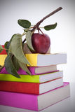 Books and a fresh apple Royalty Free Stock Image