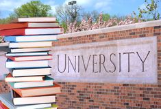 Books in front of university Royalty Free Stock Photos