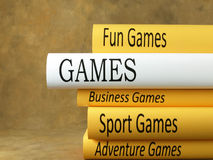 Game and entertainment - Books. Books stacked of Games and Entertainment Royalty Free Stock Images