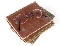 books gammala exponeringsglas Royaltyfri Bild