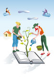 Books Gardeners. A man and a woman dressed as gardeners work creatively. They care and pamper a book from which emerges a green plant. Other people are reading Stock Images