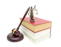 Books, gavel and justice statue isolated on white background Royalty Free Stock Photos