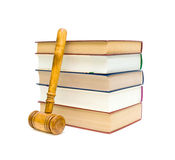 Books and gavel on white background Stock Photography