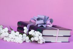 Books in a gift box with a bow and a bouquet of white flowers of a gypsophile. Books in a gift box with a bow and a bouquet of white flowers gypsophila gift Stock Images