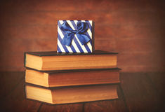 Books with gift box Stock Photo