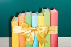 Books. Gift Christmas Stack Ribbon Education Multi Colored Stock Photography