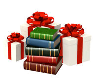 Books and gifts. Objects isolated over white Stock Images