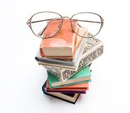 Books and glasses. Glasses on a pile of books Stock Image