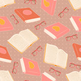 Books and glasses. Seamless pattern with books and glasses Stock Photos