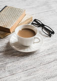 Books, glasses and coffee cup Stock Photography