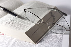 Books, glasses and pen Royalty Free Stock Images