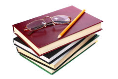 Books is glasses and pencil Royalty Free Stock Photo