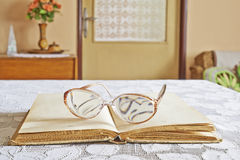 Books with glasses Stock Photos
