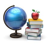 Books globe and apple blank study knowledge symbol Stock Photo