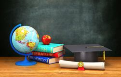 Books, globe, diploma, apple, academic cap lie on a wooden table on the background of the board. 3d illustration Royalty Free Stock Image