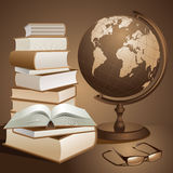 Books and globe Stock Photos