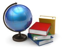 Books and globe international global geography knowledge Stock Photography