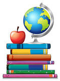 Books and globe. Stack of books with globe on top Vector Illustration