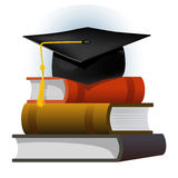 Books with the graduate cap. Illustration of books  and mortarboard cap symbolizing education and graduation. Vector illustration Royalty Free Stock Image