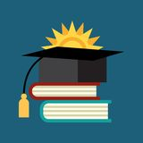 Books with the graduate cap Stock Images