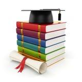 Books with graduation cap. 3d illustration of books with graduation cap Stock Images