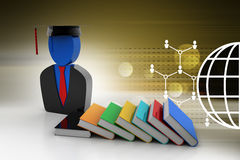 Books with graduation cap Stock Image