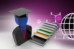 Books with graduation cap Royalty Free Stock Photo
