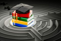 Books with graduation cap inside labyrinth maze. 3D rendering. Books with graduation cap inside labyrinth maze. 3D Royalty Free Stock Photography