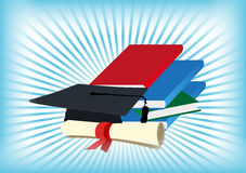 Books Graduation Hat And Diploma. Vector illustration of books and graduation cap and diploma on a blue and white bars background Stock Photos