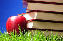 Books on grass. Educational concept. Stock Photos