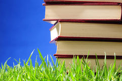 Books on grass. Educational concept. Royalty Free Stock Images