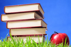 Books on grass. Educational concept. Royalty Free Stock Image