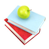 Books and green apple Stock Photo