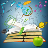 Books with green apple Royalty Free Stock Images