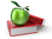 Books and green apple education erudition symbol. Books and green apple education health reading textbook learning examination concept. 3d render isolated on Stock Image