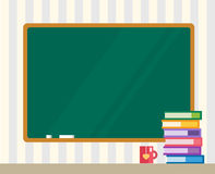 Books and green board. Back to school. Education Royalty Free Stock Image