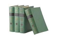 Books with green cover. Isolated over white Royalty Free Stock Image