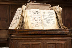 Books of gregorian song. Books of score of Gregorian song on a lectern royalty free stock photography